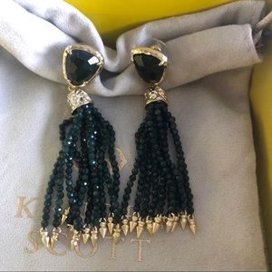 Kendra Scott Emerald Green Blossom Tassel Earrings